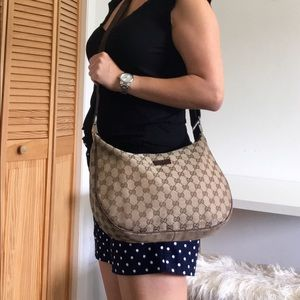 Authentic GUCCI crossbody bag brown canvas